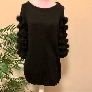 Neiman Marcus Black Sweater with Rabbit Fur Med